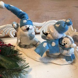 Other - Blue & White Snowman Snow Scene Decoration
